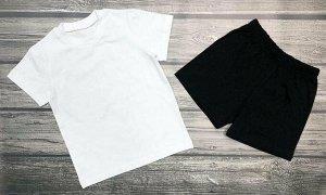 """Комплект с шортами """"Детский сад"""". Цвет белый+черный"""