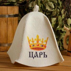 """Шапка для бани и сауны """"Царь"""", с принтом, белая 5312227"""
