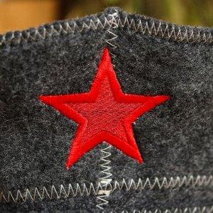 """Банная шапка-фуражка """"Звезда"""", серая"""