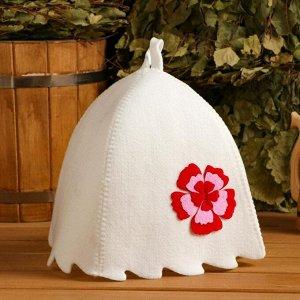 """Набор банный сумка зеленая шапка,коврик,рукавица """"Цветок"""""""
