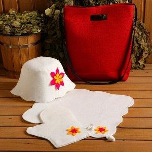 """Набор банный портфель сумка красная шапка,коврик,рукавица """"Цветочек"""""""
