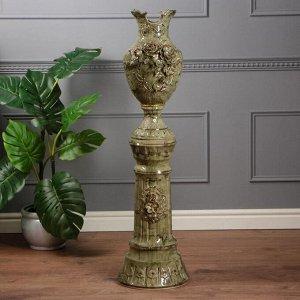 """Ваза на колонне """"Астория"""", под малахит, зелёная, лепка, без ручек, 110 см, керамика"""