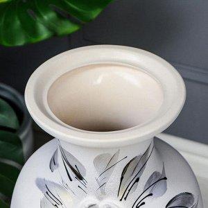 """Ваза напольная """"Белла"""" декор. цвет белый. 66 см. керамика"""
