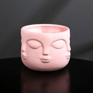 Кашпо-голова из гипса «Муза», розовое, 11,5 х 9 см