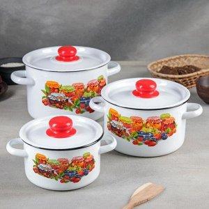 Набор посуды «Варенье», 3 шт: 1,5 л, 2,9 л,4,5 л, цвет белоснежный