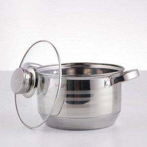 Набор посуды, 6 предметов: кастрюли 16/18/20/24 см, ковш 16 см, сковорода 24 см, индукция