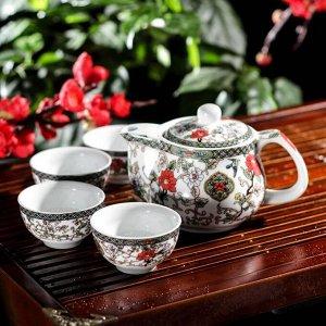 Набор для чайной церемонии «Цветение», 5 предметов: чайник 200 мл, чашка 30 мл