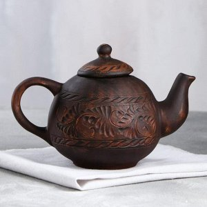 "Чайник для заварки ""Бархат"", красная глина, резка, 1 л"