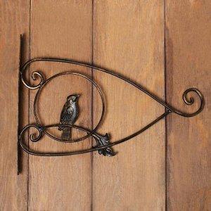 Кронштейн для кашпо, кованый, 30 см, металл, чёрный, «Птичка»
