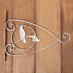 Кронштейн для кашпо, кованый, 30 см, металл, золотистый, «Птичка»