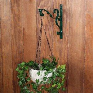 Кронштейн для кашпо, кованый, 30 см, металл, зелёный, «Волна»