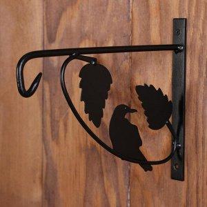 Кронштейн для кашпо, кованый, 25 см, металл, чёрный, «Листья»
