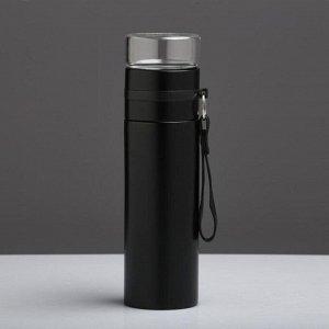 Термос Love Home 400 мл, сохраняет тепло 12 ч, с заварником, чёрный
