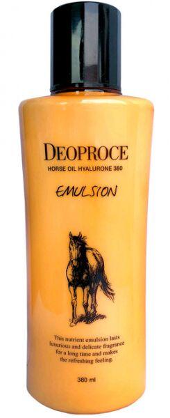 """DEOPROCE   HORSE OIL HYALURONE 380 - EMULSION  Эмульсия для лица с """"Гиалуроновой кислотой и лошадиным жиром"""" 380 мл."""