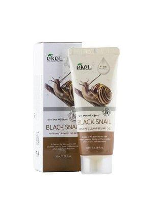 """EKEL   NATURAL CLEAN PEELING GEL - BLACK SNAIL  Гель-пилинг для лица с """"Муцином черной улитки"""" 100 мл."""