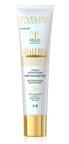 EVELINE   24H MAXI FORMULA - HYALURON  Глубоко увлажняющий крем-концентрат для лица 25+ - дневной и ночной  40 мл.