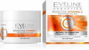 EVELINE   BIOACTIVE VITAMIN C  Активно омолаживающий дневной и ночной крем выравнивающий цвет лица  50 мл.