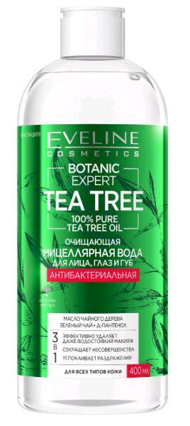 """EVELINE   BOTANIC EXPERT - TEA TREE  Очищающая мицеллярная вода для лица, глаз и губ """"Антибактериальная"""" 3в1  400 мл."""