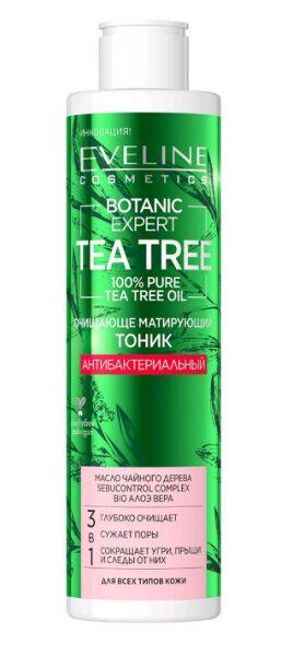 "EVELINE   BOTANIC EXPERT - TEA TREE  Очищающе-матирующий тоник ""Антибактериальный"" 3в1  225 мл."