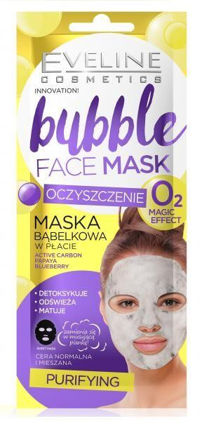 EVELINE   BUBBLE FACE MASK  Очищающая пузырковая тканевая маска для лица 1 шт.