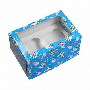"""Коробка для 2 капкейков """"Снеговики и елки"""", с окном"""
