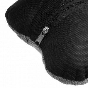 Подушка автомобильная косточка, на подголовник, лен, серый, 16х24 см