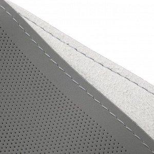 Сшивной чехол Cartage на руль 38 см, натуральная кожа, антискользящая, серый