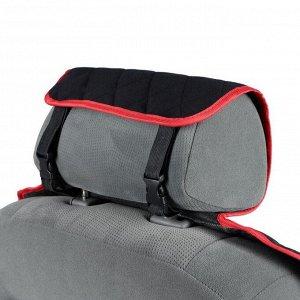 Накидка на переднее сиденье, велюр, размер 55 х 150 см, черный с красным кантом