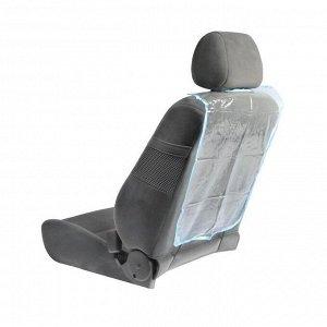 Накидка-незапинайка на спинку сиденья TORSO, 58х42 см, синяя окантовка, прозрачная