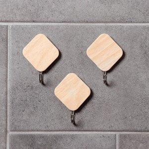 Набор крючков на липучке «Деревянные ромбы», 3 шт, цвет светлое дерево