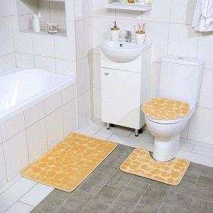Набор ковриков для ванны и туалета Доляна «Галька», 3 шт: 36?42, 40?50, 50?80 см, цвет бежевый