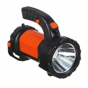 ЧИНГИСХАН Фонарь прожектор, 1 LED + 1 COB, 3Вт + 3Вт, аккумулятор 2400мАч, USB, 17х13см, пластик
