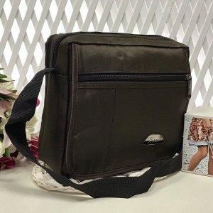 Мужской горизонтальный планшет Relinice из текстиля с ремнем через плечо кофейного цвета.