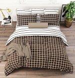 Комплект из Поплина 2 спальный Клетка коричневый
