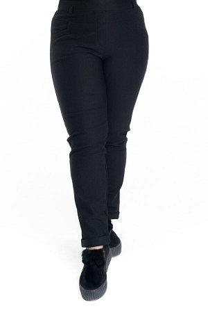 Брюки-3316 Модель брюк: Дудочки; Материал: Трикотаж с начесом;   Фасон: Брюки; Параметры модели: Рост 168 см, Размер 54 Брюки 7/8 с начесом с отворотом черные Однотонные брюки-стрейч выполнены из плот