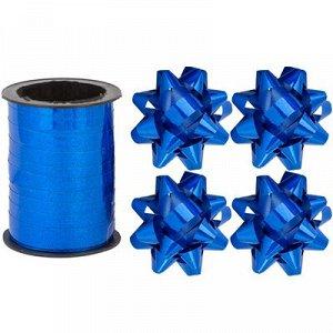 Бант 6см 4шт +Лента 10м гологр синий/G