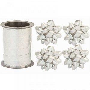 Бант 6см 4шт +Лента 10м гологр серебр/G