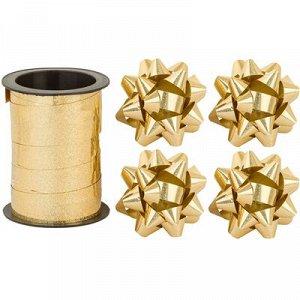 Бант 6см 4шт +Лента 10м гологр золото/G