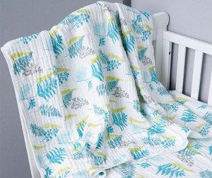 Муслиновое одеяло Листья, хлопок, 8 слоев