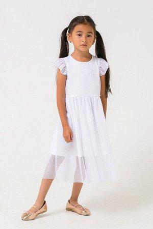 Платье Цвет: белый; Вид изделия: Трикотажные изделия; Полотно: Супрем; Рисунок: белый; Сезон: Осень-Зима; Коллекция: Новый год Нарядное платье с рукавами-крылышками из хлопкового полотна. Верхний сло