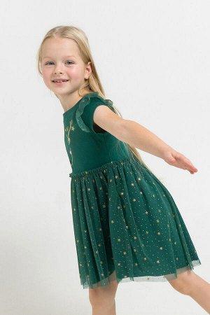 Платье Цвет: темно-зеленый; Вид изделия: Трикотажные изделия; Полотно: Супрем; Рисунок: темно-зеленый; Сезон: Осень-Зима; Коллекция: Новый год Нарядное платье из хлопкового трикотажа супрем, отрезная