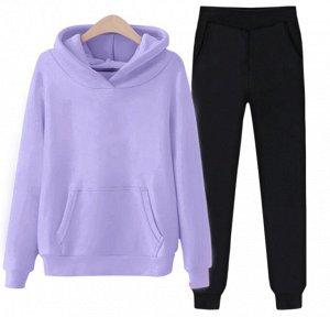 Теплый костюм на флисе фиолетово-черный
