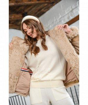 Пуховая куртка с мехом барашка Артикул: 29652-65-KM-BR