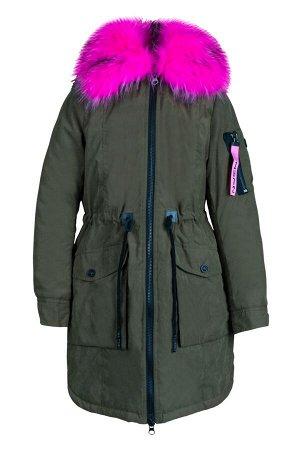 70706/1 (хаки) Куртка-парка для девочки
