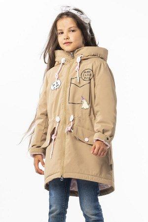 100008/1 (песочный) Пальто-парка для девочки