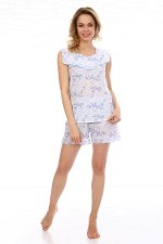 Пижама ночная женская,модель 410,ситец (Сакура, голубой)