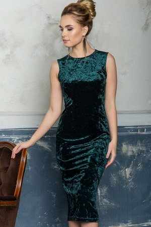 Платье-футляр из изумрудного бархата