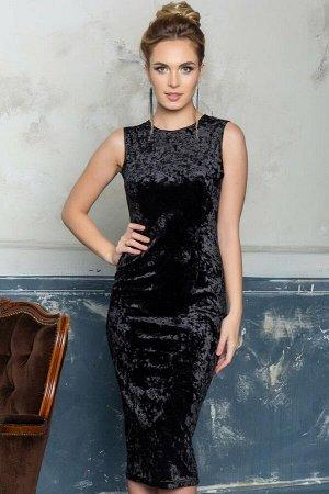 Платье-футляр из черного бархата