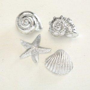 Декор 2000937 морские фигурки серебро пластик