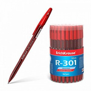 Ручка шариковая ErichKrause R-301 Original Stick 0.7, цвет чернил красный (в тубусе по 60 шт.)59